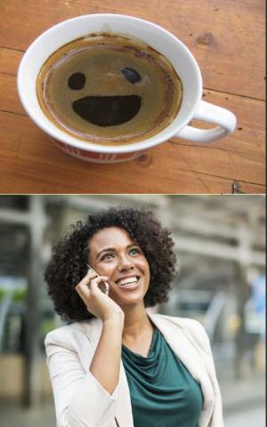 Dos imágenes: Una taza de cafe y la otra muestra una mujer teniendo una llamada telefónica.